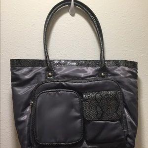 Women's gray snake skin print hand bag